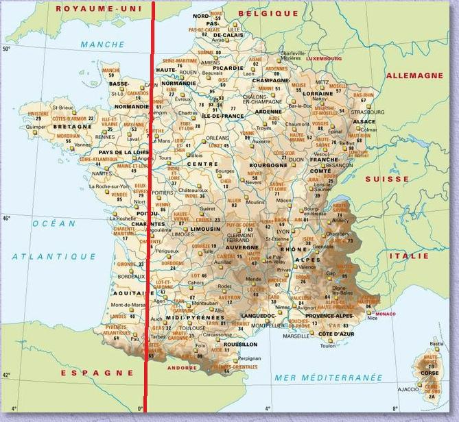 méridien de greenwich carte Le Méridien de Greenwich dans les Hautes Pyrénées